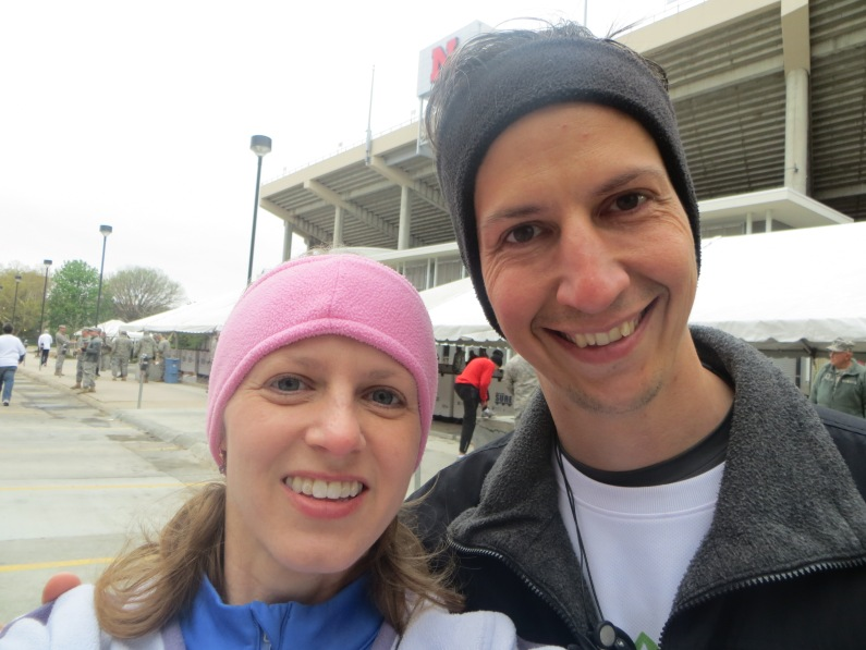 Matt and I ran the Lincoln Half Marathon together and had a great time. Literally.