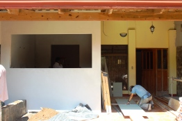 Work in progress. We framed a 9' x 10' addition onto the front patio to become the new kitchen.
