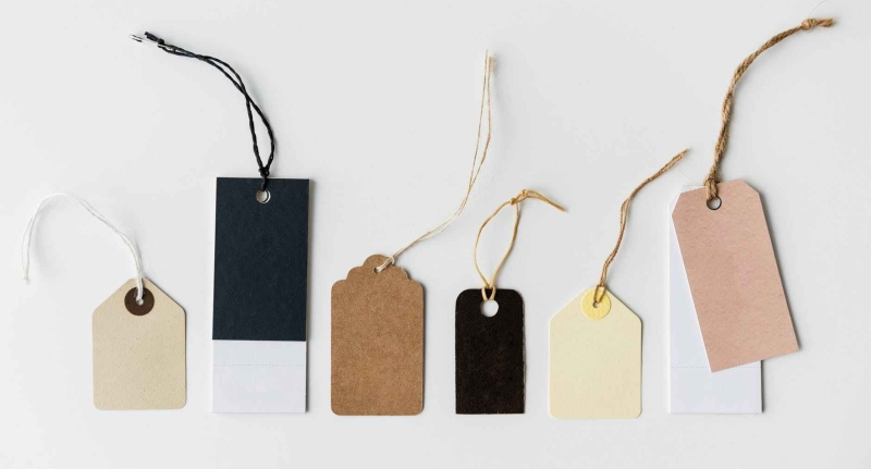 several assorted color tags